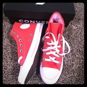 Brand new limited edition pinky/red converse shoes